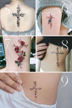 Side Cross Tattoo, Little Cross Tattoos, Pretty Cross Tattoo, Faith Cross Tattoos, Unique Cross Tattoos, Celtic Cross Tattoos, Cross Tattoos For Women, Beautiful Tattoos For Women, Cross Tattoo Designs