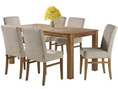 Conjunto Mesa e 6 Cadeiras Canyon Móveis AF - Mesas e Cadeiras de Jantar - Magazine Luiza