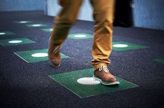 Power Walking: Each Day Generates Renewable Energy for a Subway Station   http://people4smartercities.com/editorial/twist-floor-tiles-gives-power-walking-new-meaning  When a walker's foot makes contact with the tile, a step creates approximately 7 watts of converted kinetic energy. The slabs, made from 100 percent recycled rubber, can store energy for up to 72 hours via small built-in batteries.