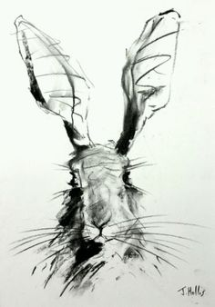 #Original hare rabbit bunny drawing #charcoal #contemporary art big a2 rustic chi, View more on the LINK: http://www.zeppy.io/product/gb/2/401083282085/