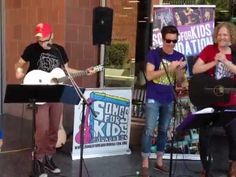 """The band FUN joined the hospital's resident music group, Songs for Kids Foundation, to play some tunes for the patients. We enjoyed their cover of """"Call Me Maybe."""""""