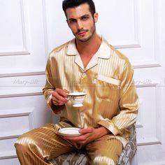 Clothing Type: Pajamas, Pyjamas, Sleepwear Pants Set Gender: Men Pattern Type: Striped Style: Casual Closure Type: Button Material: Lycra, Silk Closure Type: Button Fly Collar: Turn-down Collar Mens Silk Pajamas, Satin Pajamas, Mens Sleepwear, Sleepwear Sets, Lingerie Sleepwear, Satin Pyjama Set, Pajama Set, Stripes Fashion, Men's Clothing