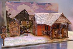 The Vintage Service Station Paper Model - Oil Painting Version Assembled by Michel Cerfvoliste