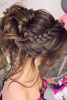 Wedding Updos With Braids ❤︎ Wedding planning ideas & inspiration. Wedding dresses, decor, and lots more. Braided Hairstyles Updo, Braided Prom Hair, Prom Hair Updo, Short Wedding Hair, Braids For Short Hair, Braided Updo, Bride Hairstyles, Short Hair Styles, Updo Hairstyle
