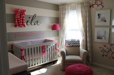 Grey Stripe and pink Nursery Love the font and name on the wall.