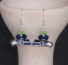 Seattle Seahawks Inspired Crystal Logo Earrings by scbeachbling