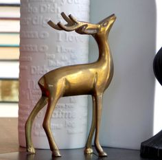 Brass Deer Mid Century Modern Holiday Christmas by MidCenturyFLA White And Gold Decor, Deer Pictures, Works With Alexa, Dinnerware Sets, Contemporary Decor, Handmade Crafts, Christmas Holidays, Mid-century Modern, Mid Century