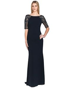 Beaded-Sleeve V-Back Evening Gown