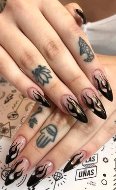 41 stunning acrylic nails design ideas and images for 201 .- 41 stunning acrylic nails design ideas and images for 2019 Part 17 – nail # Ideas - Almond Acrylic Nails, Best Acrylic Nails, Acrylic Nail Art, Acrylic Nail Designs, Nail Art Designs, Black Almond Nails, Black Acrylic Nails, Crazy Nail Designs, Acrylic Nails For Summer Almond