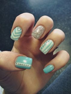 turquoise aztec nails