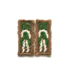 Two Scouting Badge Knot Tying Patches Scouters Key Award Small Green & White Square Knot on Khaki Background Boy Scouts Cub Scouts by ThriftyTheresa