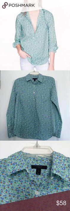 🆕 J.Crew popover flowerpatch tunic blouse floral Cute J.Crew popover blouse J. Crew Tops Tunics
