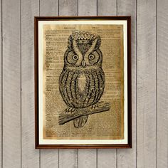 Cute animal art poster on handmade antiqued dictionary page. Owl print for home and office.  Lovely 8.3 x 11.7 inches (A4) bird home decor.  BUY 1