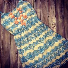 This blue and cream lace dress is so pretty!! $42.95!