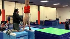 Anthony working on a cool stutz drill for parallel bars