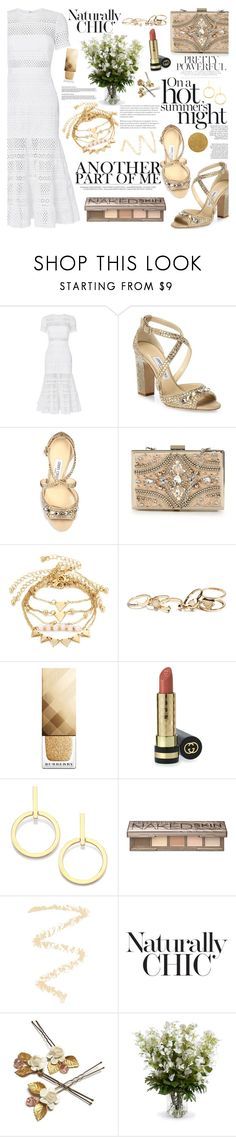 """Peek-A-Boo: Eyelet"" by martinabb ❤ liked on Polyvore featuring self-portrait, Jimmy Choo, Forever Unique, GUESS, Burberry, Gucci, Vita Fede, Urban Decay, Topshop and New Growth Designs"