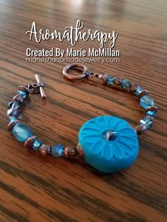 Aromatherapy Diffuser beaded Bracelet Ocean Blue