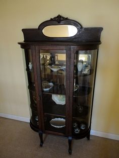 "Antique China Cabinet - 1880's made by ""The World Furniture Co."" Evansville, IN"