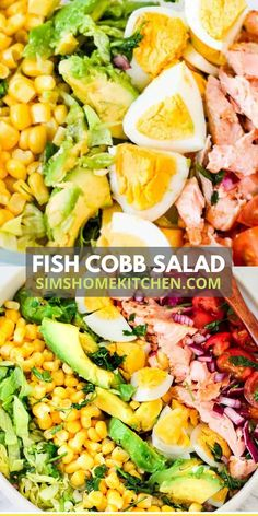 A fresh, delicious Fish Cobb salad recipe perfect for pescetarians! Add creamy avocados, juicy tomatoes, fresh greens, hard-boiled eggs and sweet red onions for the perfect summer salad bowl!