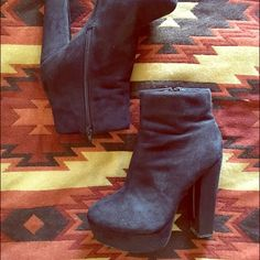 """Faux Suede Stacked Ankle Boots Very soft faux suede. Zipper inside. 1.25"""" platform 5"""" heel. Too tall for me, worn twice Forever 21 Shoes Ankle Boots & Booties"""