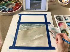 The start of a beach painting in watercolor