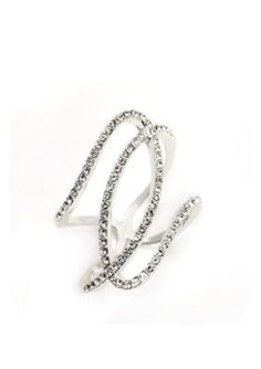 New Directions  Silver-Tone Crystal Twist Boxed Ring