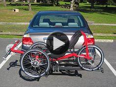 Recumbent tadpole trike on folding, tilting Hitch Rider trike rack Trike Bicycle, Recumbent Bicycle, E Bike Kit, Three Wheel Bicycle, Hitch Bike Rack, Adult Tricycle, Reverse Trike, Trailer Hitch, Bike Art
