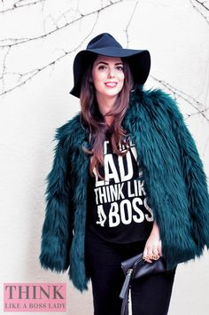 THINK LIKE A BOSS LADY, created by Lisa Tufano | Emerald Green Furry Jacket and over the knee equestrian boots | http://thinklikeabosslady.com