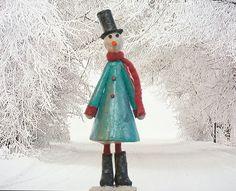 Paper Mache Snowman Snowman Sculpture Snowman Figurine by irineART