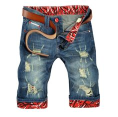 2014 Summer New Arrival Korean Style Fashion Ripped Jeans for Men Famous Brand Slim Straight Cotton Denim Shorts Jeans Men Brand $22.50