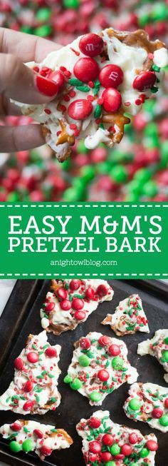 This M&M'S Pretzel Bark is the perfect combination of salty and sweet in one delicious holiday treat! This M&M'S Pretzel Bark is the perfect combination of salty and sweet in one delicious holiday treat! Christmas Pretzels, Christmas Bark, Christmas Desserts, Holiday Treats, Christmas Treats, Holiday Recipes, Christmas Recipes, Family Christmas, Christmas Cookies