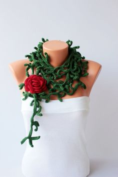 Thorny crochet necklace scarf crochet lariat scarf by SenasShop