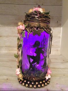 Excited to share this item from my #etsy shop: Handmade silhouette 8 inch beautiful fairy jar . T Lights, String Lights, Fairy Jars, Power Colors, Color Changing Lights, Beautiful Fairies, Color Change, Little Ones, Bronze