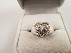 Sterling Silver 925 Filigree Classic Heart Ring Size 8 by BADTIQUE