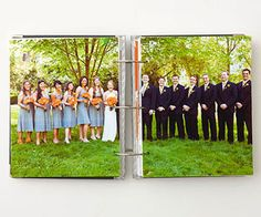 Put a large group shot in the middle of wedding card album.
