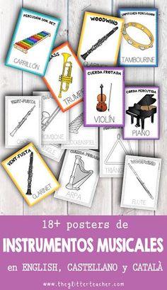 The Glitter Teacher: music Music Lesson Plans, Music Lessons, Music Pics, Music Stuff, Music Bulletin Boards, Spanish Posters, Spanish Music, Instruments, Montessori Toddler