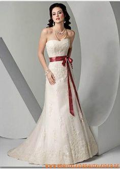 Süßes Brautkleid aus Organza A-Linie mit Band