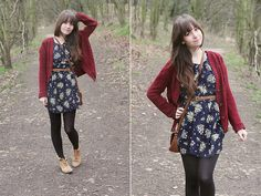 floral dress + maroon sweater