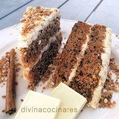 Tarta de zanahorias y chocolate blanco (carrot cake)