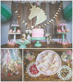 Magical Vintage Unicorn Party. Tons of pink and gold details and fun DIY's included.