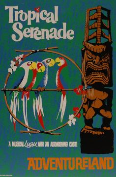Vintage disney collector's poster 12x18 - adventureland - tropical serenade