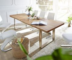 Baumtisch Live-Edge 260x100 Akazie Natur Platte 3,5cm Gestell schmal Möbel Tische Esstische