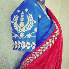 SODIUM by Nisha Walvekar  Beautiful embroidery on royal blue blouse