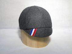 Cycling Cap // Premium Gray Wool With Racing by jbaileybrand, $40.00