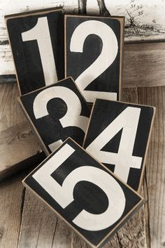 """Numbers 1-5 Wood Blocks 4.25"""" x 6.5""""  Excellent link to wooden letters, numbers and words """"I DO"""", """"CARDS"""", """"SWEETS"""", etc."""