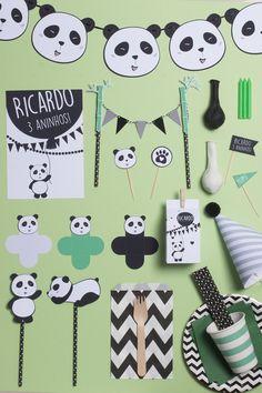 Kit Festa Papel Granulado Panda - 08 pessoas