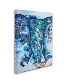 Trademark Fine Art 'Blue Elephant' Canvas Art by Oxana Ziaka, Size: 18 x 24 Elephant Canvas Art, Elephant Print, Lace Drawing, Byzantine Icons, Artist Canvas, Art Reproductions, Art Pieces, Canvas Prints, Fine Art