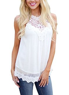 LOSRLY Crochet Vest Top Sleeveless Blouse Casual Tank Top Lace Shirt for Women-White L 12 14  Special Offer: $13.99  433 Reviews A top as confident as you are! The crochet details along the hem and high neckline are just so gorgeous too. Sleeveless top with loaded yoke and crochet...