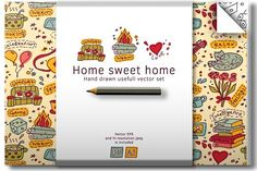 Housewarming. Home vector set by Crowhouse on @creativemarket