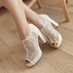 97ac6eefbee7 Share to get a coupon for all on FSJ Ivory Wedding Shoes Lace Peep Toe  Block Heel Ankle Boots